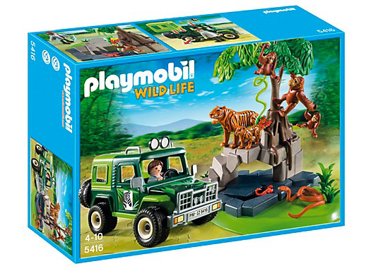 Jungle Animals with Researcher and Off Road Vehicle
